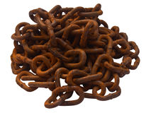 Rusty chain on white. Background Stock Photography