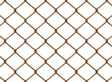 Rusty Chainlink fence. A chain link fence on white background Royalty Free Stock Photos
