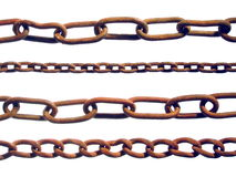 Rusty Chains. A selection of old, rust chains. Isolated over pure white Stock Photography