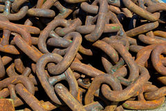 Rusty chains. A pile of big, rusty, old chains Royalty Free Stock Photography