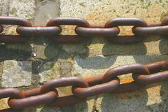 Rusty Chains. Rusty Stong Iron Chains at Dock stock images