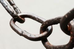 Rusty chain. Closeup of rusty chain in park Stock Photo