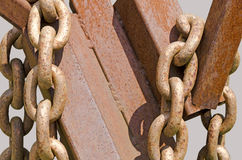 Rusty chains and iron profiles Stock Images