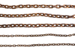 Rusty chains isolated on white background stock photos