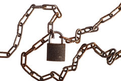 Rusty chains and lock Royalty Free Stock Images
