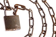 Rusty chains and lock Royalty Free Stock Image