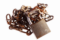 Rusty chains and lock Royalty Free Stock Photo