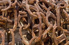 Pile of Rusty Chains Royalty Free Stock Images