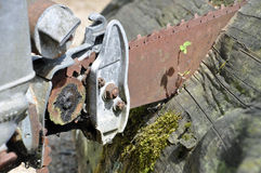 Rusty chainsaw Stock Photography