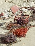Rusty Chair op Strand Royalty-vrije Stock Foto