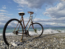 Rusty bike at seaside Royalty Free Stock Photo