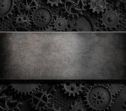 Rusty cogs and gears steam punk 3d illustration background Stock Images