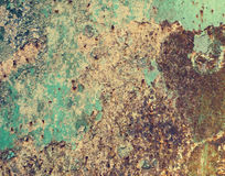 Rusty Colored Metal avec la peinture criquée, fond grunge Images stock