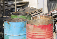 Rusty colorful barrels Stock Photography
