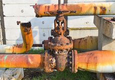 Rusty corroded pipes stock photo