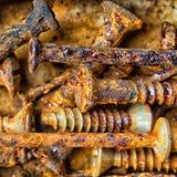 Rusty And Corroded Screws Lizenzfreie Stockfotografie