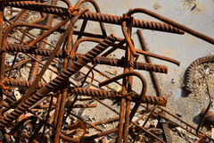Rusty corroded stained metal pieces: wire, fitting, armature Royalty Free Stock Photography