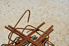 Rusty corroded stained metal wire fitting armature Royalty Free Stock Photos