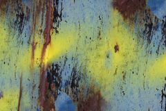 Rusty and corrosive blue metal. Rusty Metal material and corrosive texture in various colors stock photography