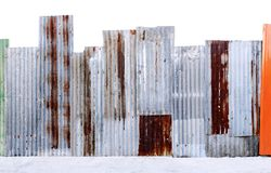 Rusty corrugated galvanized steel wall or iron metal sheet surface for texture and background stock photography