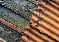Rusty Corrugated iron and burnt wood Stock Image
