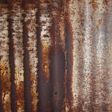 Rusty corrugated iron metal fence Zinc wall Stock Image