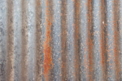 A rusty corrugated iron metal texture. Stock Photos