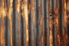 Rusty corrugated metal roof texture Royalty Free Stock Images