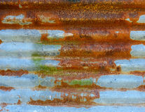 Rusty corrugated metal sheet Stock Photography