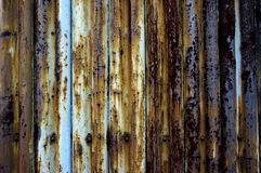 Rusty corrugated steel fence. Royalty Free Stock Images