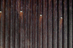 Rusty corrugated tin,barn,roof,nails Stock Photography