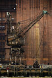A rusty crane. At the abandoned Battersea power station, London, UK royalty free stock photography
