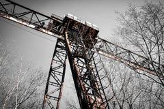 Rusty crane on rails Stock Image