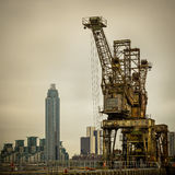 Rusty cranes at Battersea power station Royalty Free Stock Image