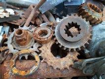 Rusty crushed metallic details. On the junkyard close-up Stock Image