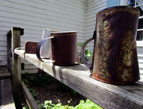Rusty Cups. A line of rusty cups on a wooden fence Stock Image