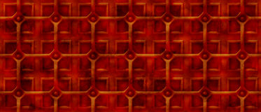 Rusty 3d steampunk background with a grid over square shapes (seamless) royalty free illustration