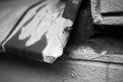 Rusty damaged metal sill windows, black and white Royalty Free Stock Image