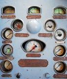 Rusty dash board. Dash board of a diesel locomotive stock images
