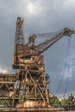 A rusty, derelict crane. At the abandoned Battersea power station, London, UK Stock Images