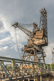 A rusty, derelict crane. At the abandoned Battersea power station, London, UK Royalty Free Stock Images
