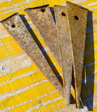 Rusty and dirty iron wedges Stock Images