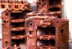 Rusty engine blocks. Rusty dismantled engine blocks stock image