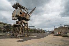Rusty disused crane on Cockatoo Island docks Royalty Free Stock Photography