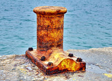 Rusty dock bollard Royalty Free Stock Photos