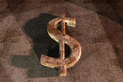Rusty dollar sign 3d on grunge background Royalty Free Stock Images