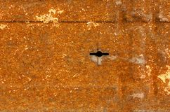 Rusty door with keyhole background. Abstract dark rusty with keyhole background. Old metal rustic surface with scratches and stains, textured backdrop closeup Royalty Free Stock Image