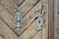 Rusty Door Knob on Old Wooden Gate, Czech Republic, Europe Stock Image