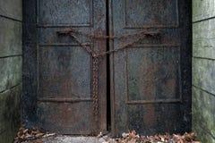 Rusty Door met Ketting Royalty-vrije Stock Foto