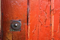 Old colorful doors in Lisbon. Rusty Doorbell in Old colorful doors in Lisbon Stock Image